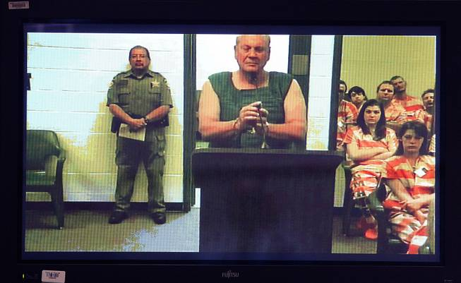 Curtis Reeves appears via video conference before Circuit Judge Lynn Tepper in Wesley Chapel, Fla. on Tuesday, Jan. 14, 2014. Tepper ordered Reeves, 71, held without bond on a charge of second-degree murder in the death of 43-year-old Chad Oulson.