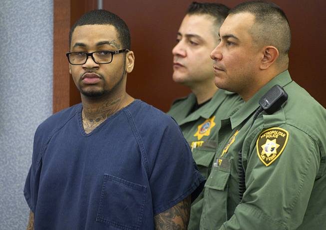 Ammar Harris, the suspect the Feb. 21, 2013, Las Vegas Strip shooting and resulting car crash that killed three people, appears in court at the Regional Justice Center Wednesday, Jan. 15, 2014. Harris is awaiting sentencing on a unrelated court case.