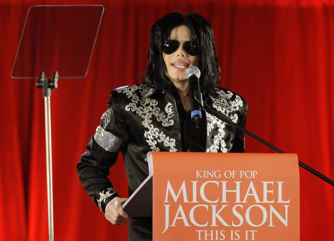 In this March 5, 2009, file photo, U.S. singer Michael Jackson speaks at a press conference at the London O2 Arena.