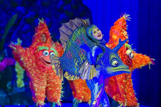 "Skaters dressed as fish and starfish perform to the song ""Under the Sea"" during ""Disney On Ice: Rockin' Ever After"" at the Thomas & Mack Center Thursday, Jan. 16, 2014. The show plays at the center through Sunday."