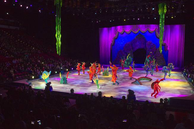 "Skaters perform to the song ""Under the Sea"" during ""Disney On Ice: Rockin' Ever After"" at the Thomas & Mack Center Thursday, Jan. 16, 2014. The show plays at the center through Sunday."