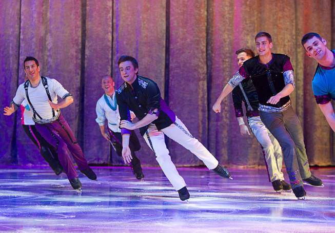 "Skaters perform in an opening number during ""Disney On Ice: Rockin' Ever After"" at the Thomas & Mack Center Thursday, Jan. 16, 2014. The show plays at the center through Sunday."
