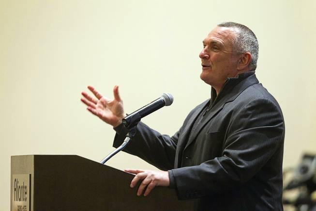 Inspirational speaker Rudy Ruettiger speaks during the North Las Vegas State of the City Address at Aliante Casino in North Las Vegas, Jan. 16, 2014.