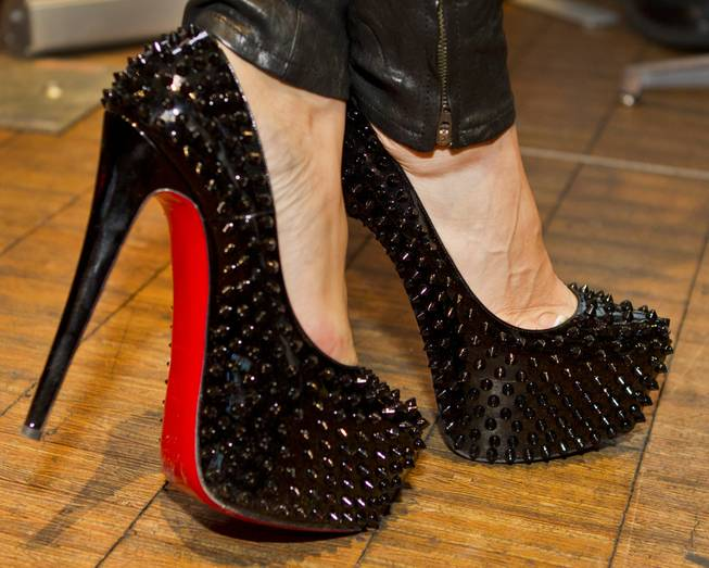 Black, spiked shoes worn for the AVN Adult Entertainment Expo happening at the Hard Rock Hotel & Casino on Thursday , Jan. 16, 2014.
