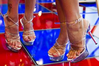 Clear high heel shoes are worn for the AVN Adult Entertainment Expo happening at the Hard Rock Hotel & Casino on Thursday , Jan. 16, 2014.