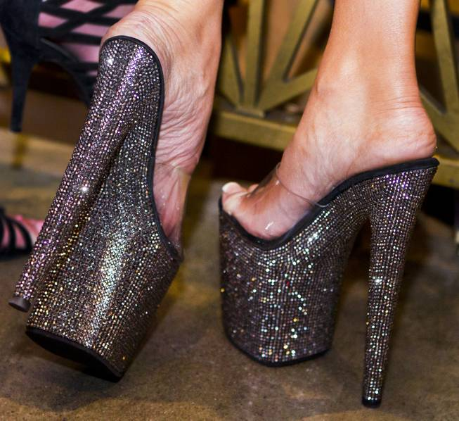 Tall and sparkly shoes are worn for the AVN Adult Entertainment Expo happening at the Hard Rock Hotel & Casino on Thursday , Jan. 16, 2014.