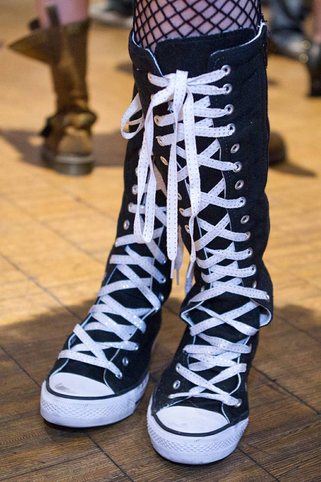 Extra high converse shoes are worn for the AVN Adult Entertainment Expo happening at the Hard Rock Hotel & Casino on Thursday , Jan. 16, 2014.