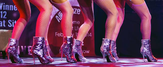 Metallic shoes worn by burlesque dancers for the AVN Adult Entertainment Expo happening at the Hard Rock Hotel & Casino on Thursday , Jan. 16, 2014.