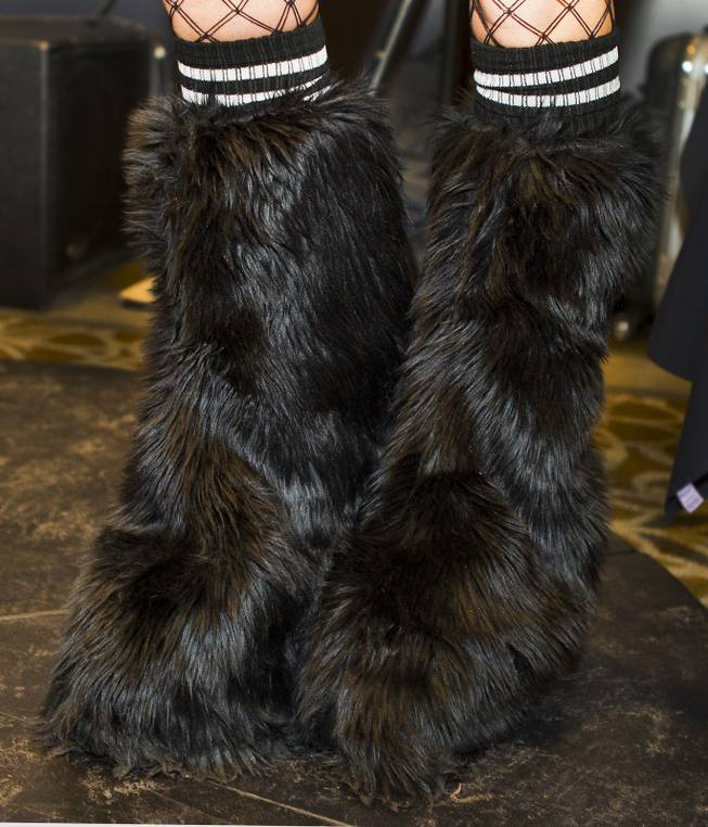 Furry shoes worn for the AVN Adult Entertainment Expo happening at the Hard Rock Hotel & Casino on Thursday , Jan. 16, 2014.