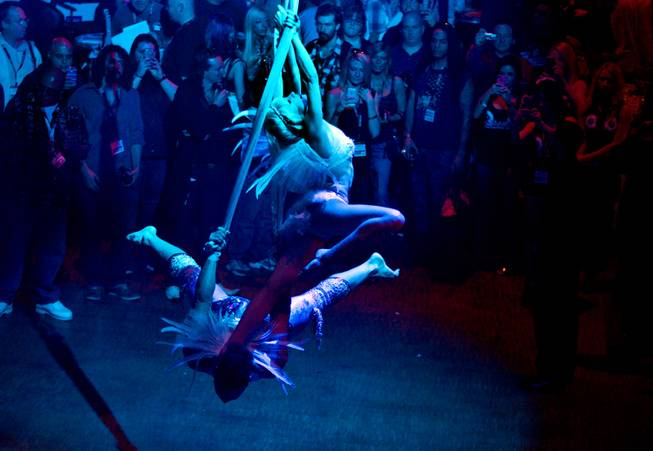 Aerial artists are bathed in blue light while entertaining the crowd at the AVN Adult Entertainment Expo on Thursday, Jan. 16, 2014.