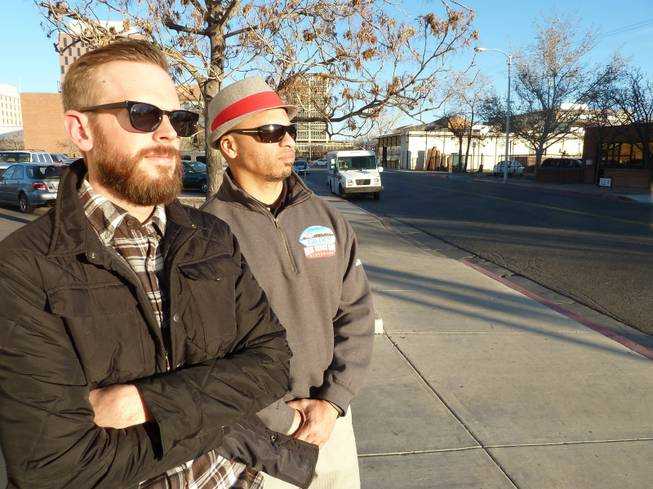 "Jesse Herron, left, and Mike Silva, pictured Jan. 16, 2014, run a tour in which customers are taken to sites around Albuquerque where the show ""Breaking Bad"" was filmed."