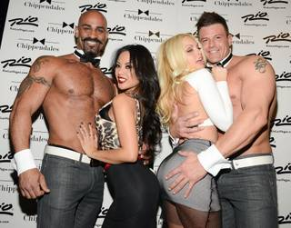 Kaylani Lei and Jesse Jane with Gavin McHale and James Davis at Chippendales on Wednesday, Jan. 15, 2014, in the Rio.