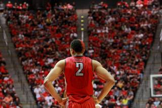 UNLV forward Khem Birch waits for play against San Diego State to resume during their game Saturday, Jan. 18, 2014 at Viejas Arena in San Diego. The 10th ranked SDSU won the game 63-52.