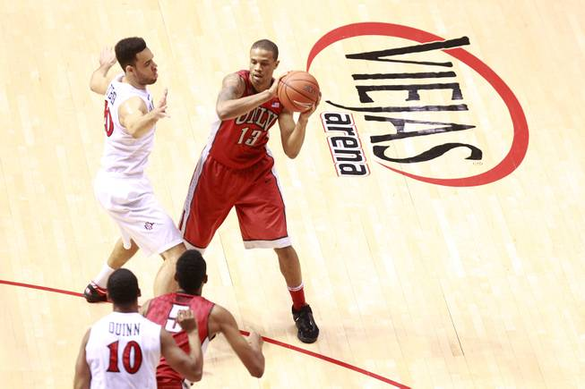 UNLV guard Bryce Dejean Jones is defended by San Diego State forward J.J. O'Brien as he passes to forward Chris Wood during their game Saturday, Jan. 18, 2014 at Viejas Arena in San Diego. The 10th ranked SDSU won the game 63-52.