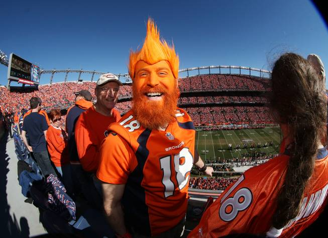 Denver Broncos fan Nick Hess, of Longmont, Colo., shows off his colors in Sports Authority Field at Mile High Stadium during the start of the AFC Championship NFL football playoff game as the Broncos host the New England Patriots on Sunday, Jan. 19, 2014, in Denver.