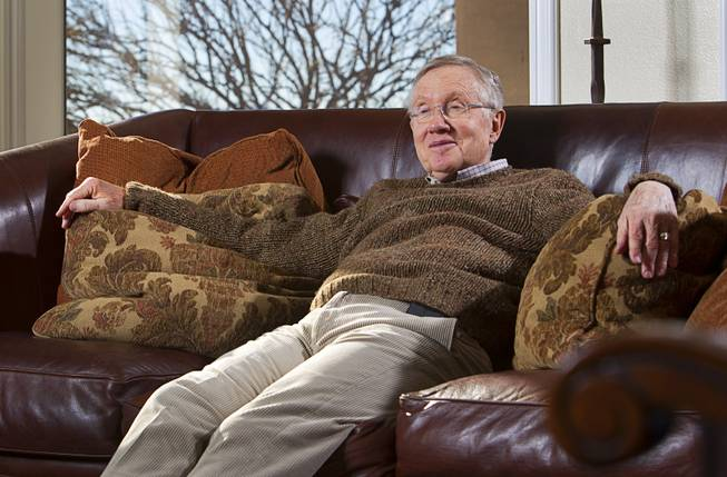 Senate Majority Leader Harry Reid (D-NV) talks about Searchlight, Nev. during an interview at his home in Searchlight Monday Jan. 20, 2014.