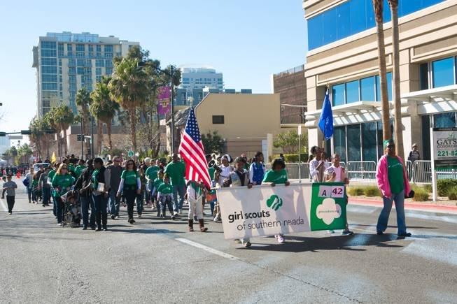 Members of the Girl Scouts of Southern Nevada march in the 32nd Annual Dr. Martin Luther King Jr. Parade, Monday Jan. 20, 2014.