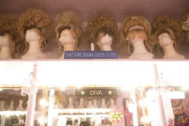 Frank Marino's many wigs in his dressing room backstage at the Quad Jan 20, 2014.