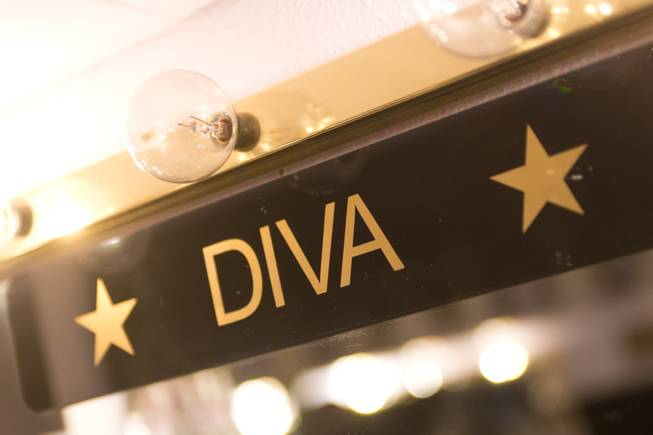 "A ""Diva"" name plaque in Frank Marino's dressing room backstage at the Quad, Jan. 20, 2014."