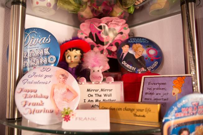 Some of Frank Marino's mementos in his dressing room backstage at the Quad Jan. 20, 2014.