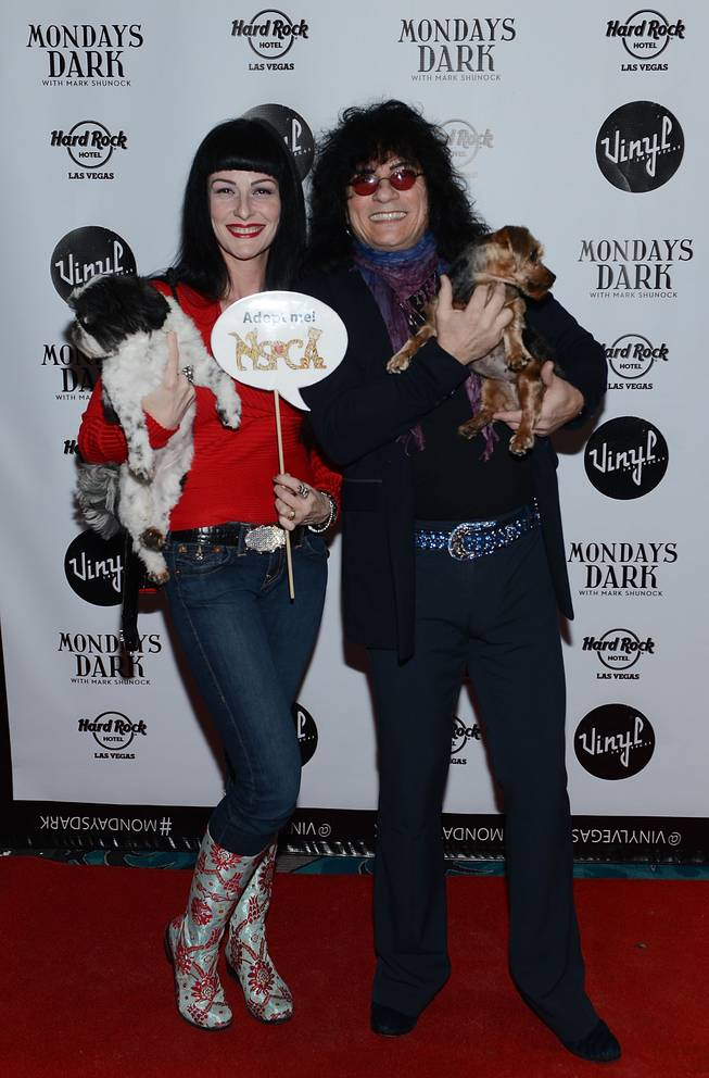 "Carmen Shortino and Paul Shortino arrive at Mark Shunock's ""Mondays Dark,"" benefiting Nevada SPCA, at Vinyl on Monday, Jan. 20, 2014, in the Hard Rock Hotel."