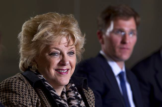 Las Vegas Mayor Carolyn Goodman speaks about a proposed downtown arena during an editorial board meeting at the Las Vegas Sun Tuesday Jan. 21, 2014. Port Telles, development director for The Cordish Companies, listens at right.