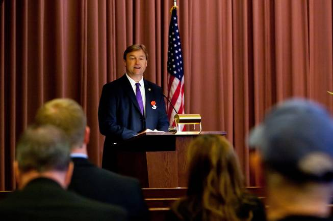 Sen. Dean Heller gives a memorial tribute during the 48th Annual Memorial Day Service at the Palm Downtown Mortuary and Cemetery in Las Vegas, Monday, May 27, 2013.