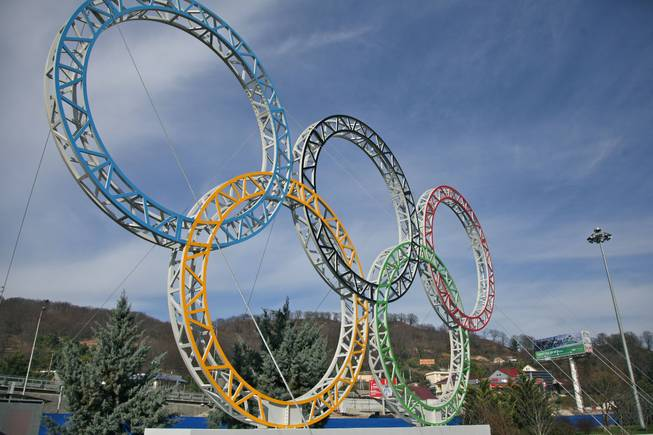 Olympic rings for the 2014 Winter Olympics are installed in the Black Sea resort of Sochi, southern Russia, late Tuesday, Sept. 25, 2012.