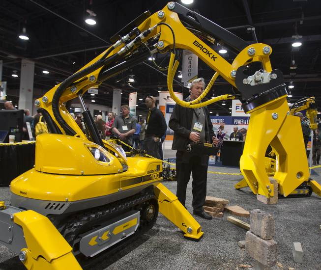 Ray Ippersiel operates a Brokk 100 which can be used for all types of demolition and is on display during the 40th anniversary of the World Of Concrete at the Las Vegas Convention Center on Wednesday, Jan. 22, 2014.