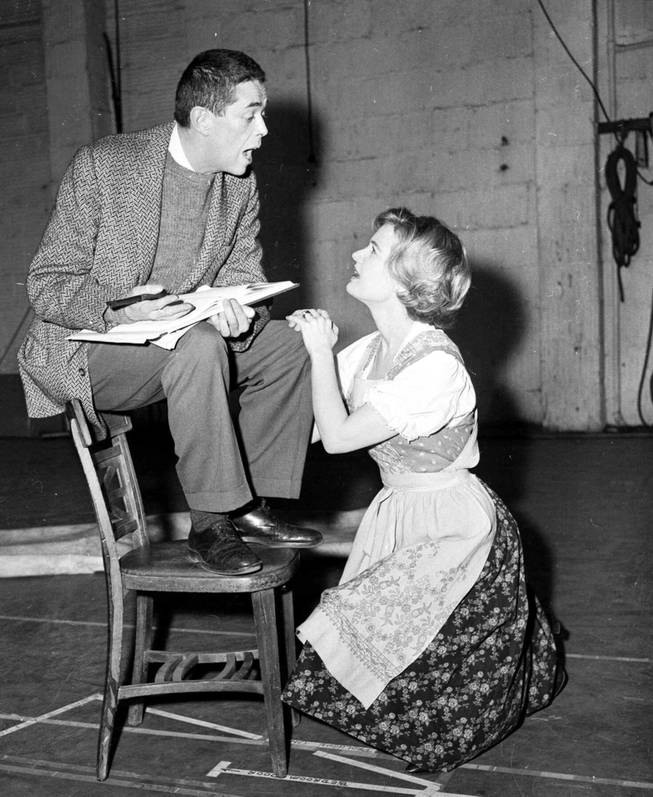 "With an assist from director Vincent Donahue, star Florence Henderson rehearses a song for ""The Sound of Music."" Feb. 9, 1961. She heads the national company which will open a cross country tour Feb. 27, 1961 in Detroit. Accent in the New York rehearsals of the show has been on building the road show on its own, not copying the original except for costumes and scenery."