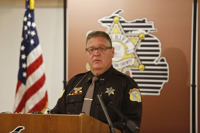 Kalamazoo County Sheriff Richard Fuller addresses the facts of an investigation in the disappearance of Dr. Teleka Patrick during a news conference Wednesday, Jan. 22, 2014, in Kalamazoo, Mich.