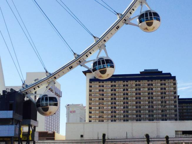 The High Roller observation wheel at the Linq as seen during a hard hat tour Jan. 22, 2014.