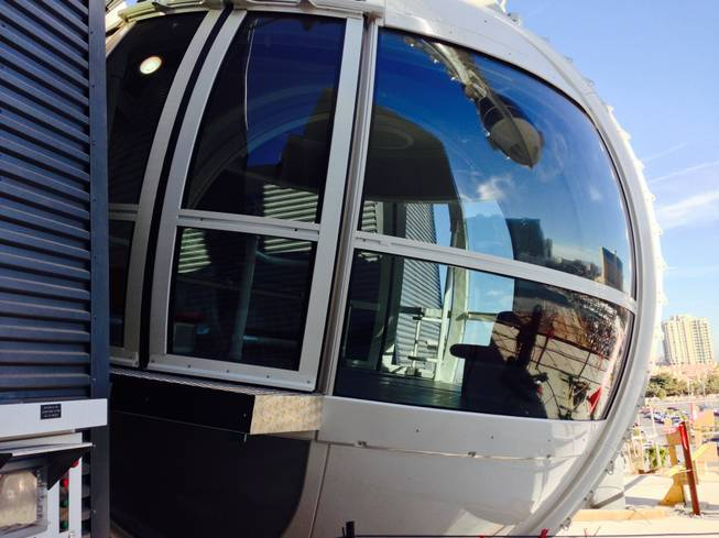 A High Roller observation wheel pod as seen during a hard hat tour Jan. 22, 2014.