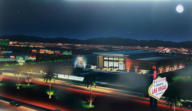 A rendering of the completed building is on display at an event to mark the beginning of construction of a Harley Davidson dealership on the Strip Thursday, Jan. 23, 2014. The dealership will be located on the east side of the Strip, just south of Russell Road.