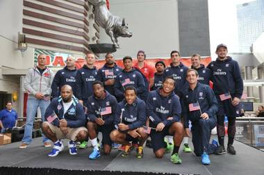 The USA Eagles rugby team outside Planet Hollywood on Wednesday, Jan. 22, 2014, in Las Vegas.