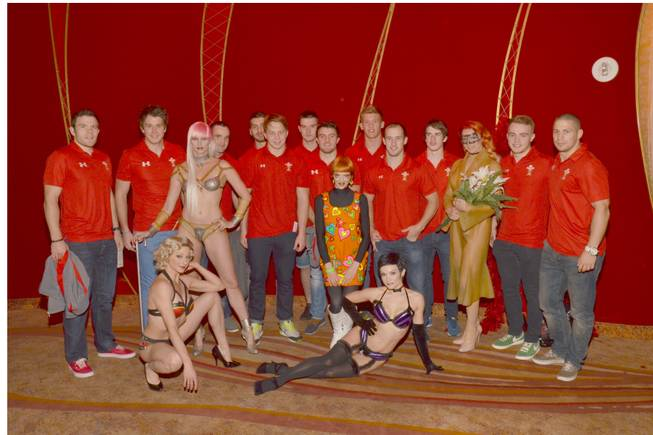 "The Welsh Sevens rugby team at Cirque du Soleil's ""Zumanity"" on Tuesday, Jan. 21, 2014, in New York-New York."