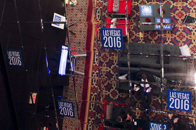 Even the reflective ceiling is decked out with Las Vegas 2016 decals at the RNC winter meeting at the Renaissance Hotel in Washington, D.C.
