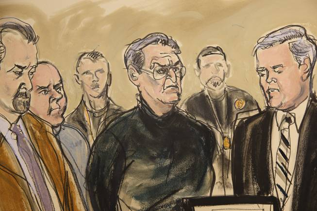 In this artist's rendering, Vincent Asaro, center, stands alongside his lawyer Gerald McMahon, right, at Brooklyn Federal Court, Thursday, Jan. 23, 2014, in New York. Asaro, 78, was named along with his son, Jerome, and three other defendants in wide-ranging indictment alleging murder, robbery, extortion, arson and other crimes from the late 1960s through last year.
