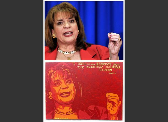 "This combination image shows an Associated Press photo, top, of Florida State Attorney Angela Corey, taken in Jacksonville, Fla., on April 11, 2012, during her announcement of second-degree murder charges against George Zimmerman in the shooting death of Trayvon Martin, and a painting, bottom, by George Zimmerman that portrays Angela Corey, titled ""Angie."""
