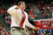 UNLV coach Dave Rice calls a timeout against Fresno State, Saturday, Jan. 25, 2014, at the Thomas & Mack Center. UNLV won 75-73 in overtime.