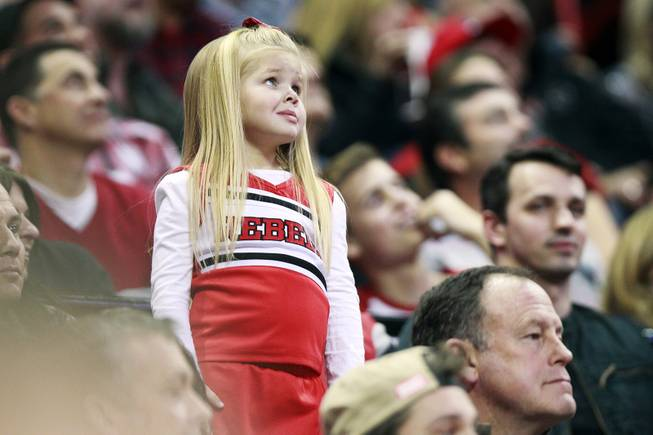 A young UNLV fan looks up at the scoreboard during their game against Fresno St. Saturday, Jan. 25, 2014 at the Thomas & Mack Center. UNLV won 75-73 in overtime.