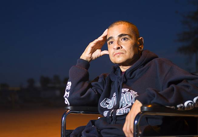 Francisco Diaz of Las Vegas poses outside the elderly care home where he is recuperating from injuries in Mexicali, Mexico Saturday, Jan. 25, 2014. Diaz was born in Mexico but grew up in Las Vegas with a green card. He was beaten and robbed after he was deported to Mexicali.