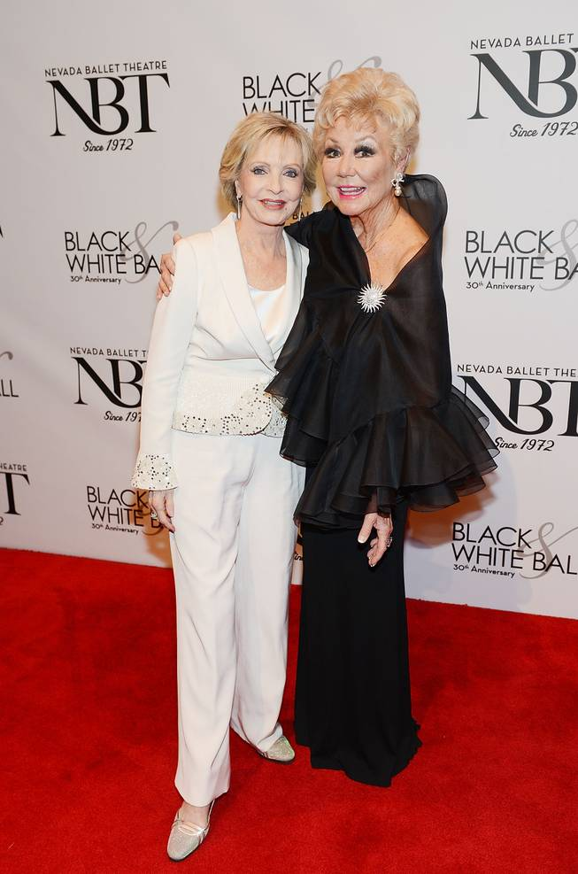 Florence Henderson and Mitzi Gaynor arrive at Nevada Ballet Theater's 30th anniversary Black & White Ball honoring Henderson as Woman of the Year on Saturday, Jan. 25, 2014, in Aria.