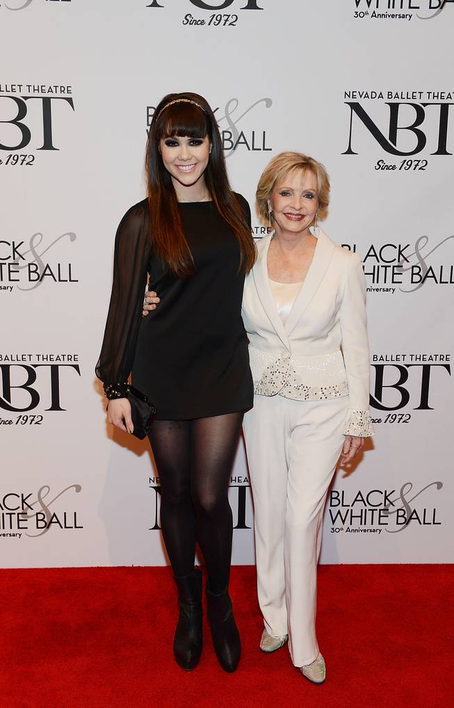 Claire Sinclair and Florence Henderson arrive at Nevada Ballet Theater's 30th anniversary Black & White Ball honoring Henderson on Saturday, Jan. 25, 2014, in Aria.