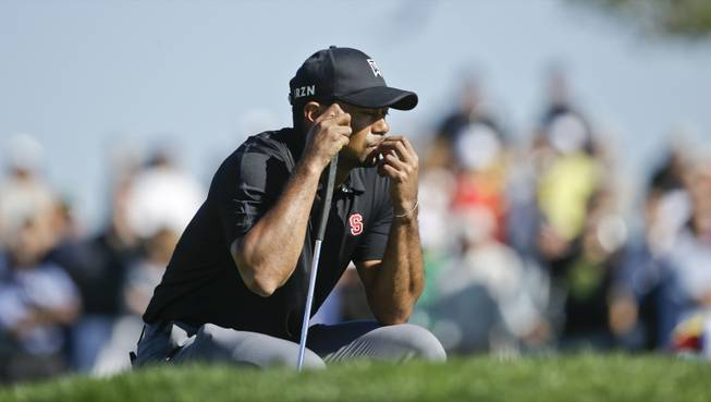 Tiger Woods waits his turn on the second green of the South Course at Torrey Pines during the third round of the Farmers Insurance Open golf tournament Saturday, Jan. 25, 2014, in San Diego.