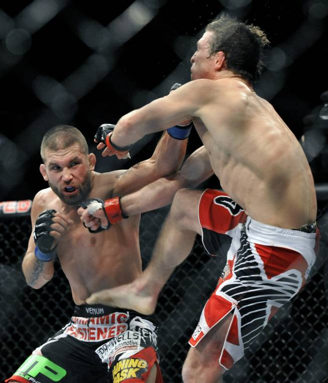 Jeremy Stephens left, fights Darren Elkins right, during the featherweight bout of an UFC mixed martial arts match in Chicago, Saturday, Jan., 25, 2014.