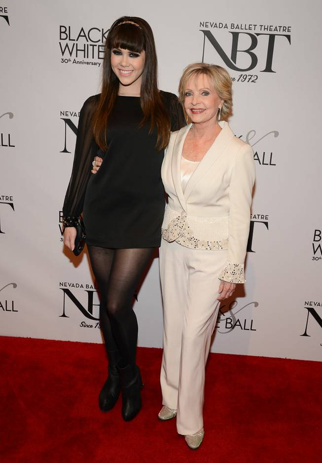 Claire Sinclair and Florence Henderson arrive at Nevada Ballet Theater's 30th anniversary Black & White Ball honoring Henderson as Woman of the Year on Saturday, Jan. 25, 2014, in Aria.