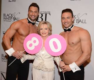 Florence Henderson and Chippendales stars James Davis and Ryan Stuart arrive at Nevada Ballet Theater's 30th anniversary Black & White Ball honoring Henderson as Woman of the Year on Saturday, Jan. 25, 2014, in Aria.