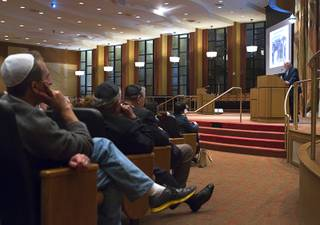 Ret. Major Leonard Berney speaks at Congregation Ner Tamid in Henderson Monday, Jan. 27, 2014. Berney was a member of British forces that liberated the Bergen-Belsen concentration camp during Word War II. The presentation was part of International Holocaust Memorial Day.