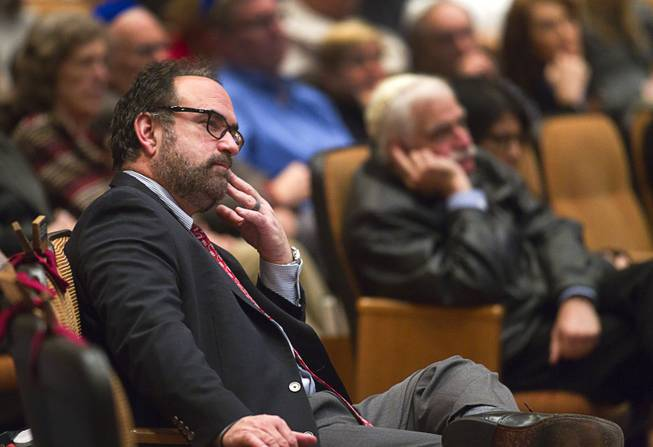 Rabbi Sanford Akselrad, left, listens to Ret. Major Leonard Berney at Congregation Ner Tamid in Henderson Monday, Jan. 27, 2014. Berney was a member of British forces that liberated the Bergen-Belsen concentration camp during Word War II. The presentation was part of International Holocaust Memorial Day.